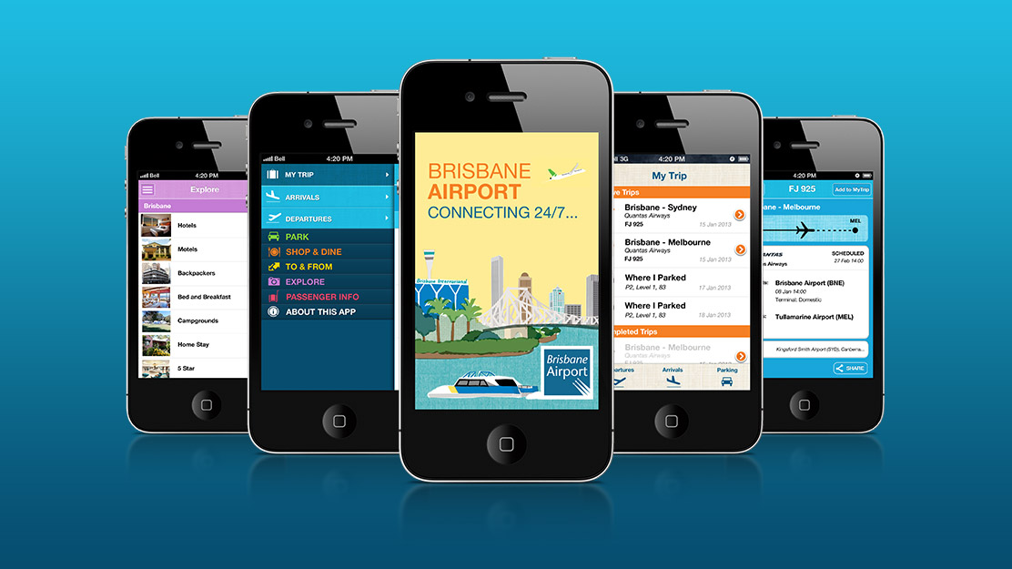 Brisbane Airport App Screens