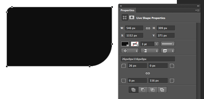 Adjusting the rounded corners of a shape