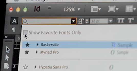 InDesign search font tool