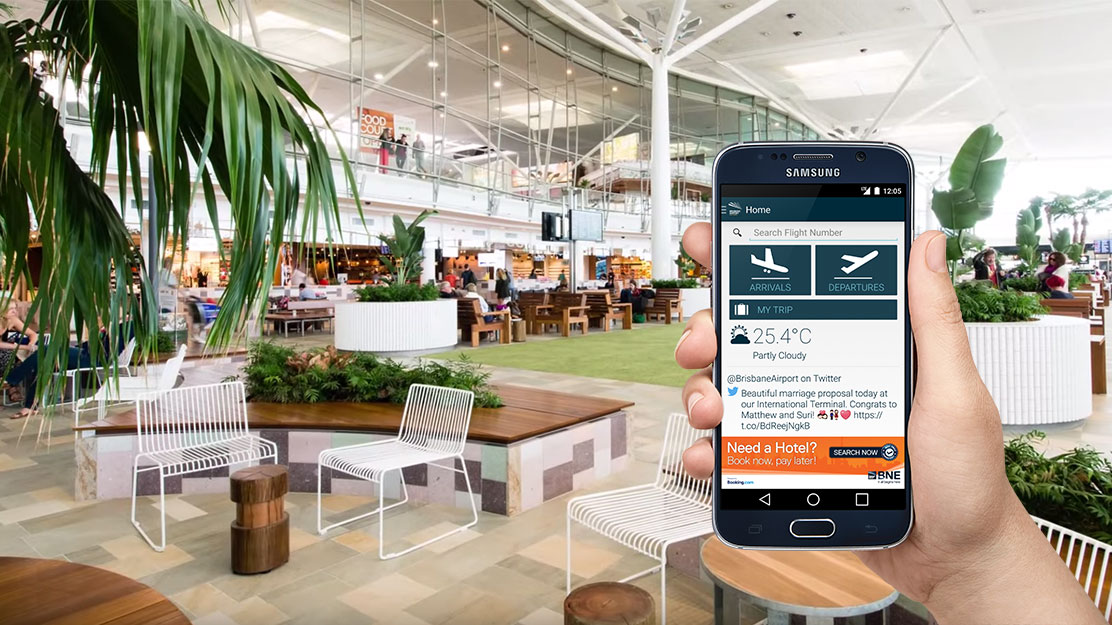 Brisbane Airport App at airport