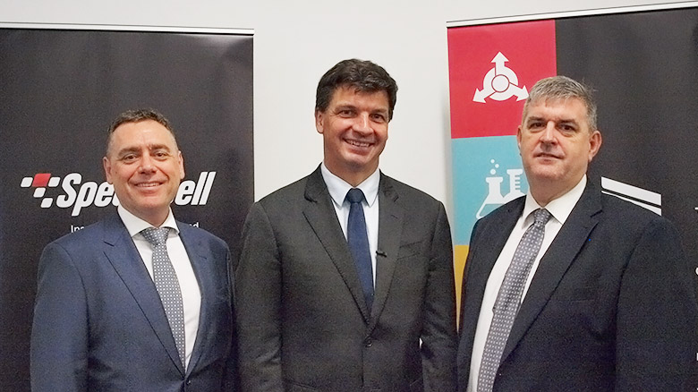 Michael Bourke (Liquid Interactive), the Hon Angus Taylor, Bruce Young (Speedwell)