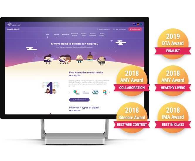 Head to Health Website - Finalist for the Australian Government Digital Awards. Winner of Amy Award, Winner of Sitecore Experience Award and IMA Award