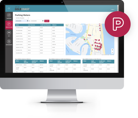 The parking meter dashboard integrates parking meter data in to a single page view