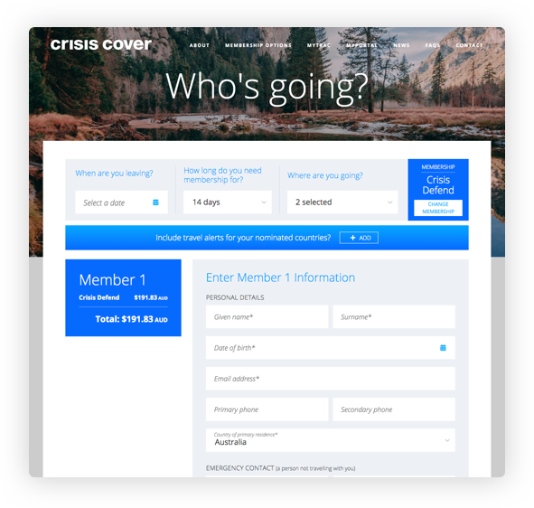 Crisis Cover offers a quick and easy path to purchase